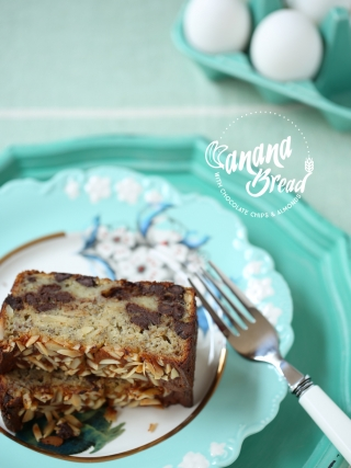 Banana Bread with Chocolate Chips and Almonds