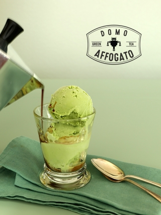 Domo Affogato - Green Tea Ice Cream Drowned in Espresso and Caramel