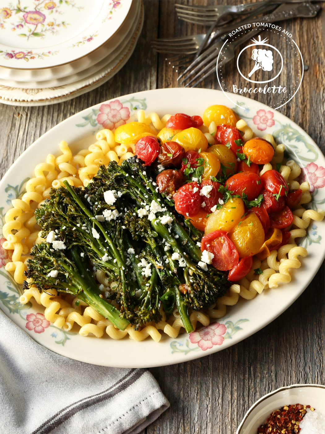 Roasted Tomatoes and Broccolette on a Bed of Pasta