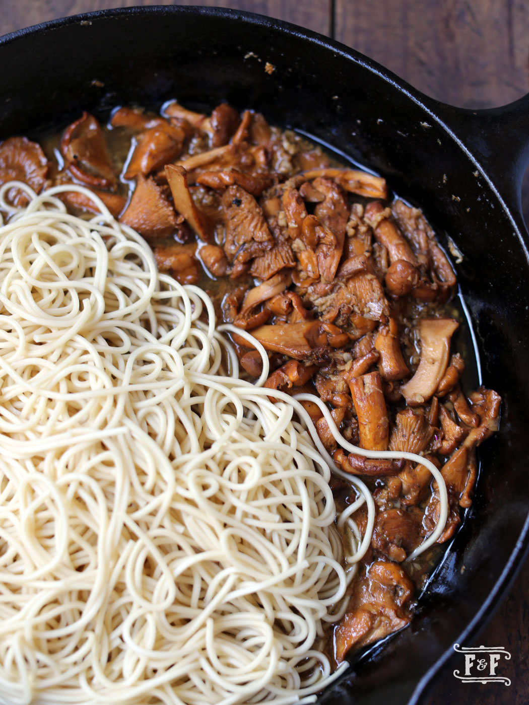 Asian Noodles with Chanterelle & Brown Butter Sauce