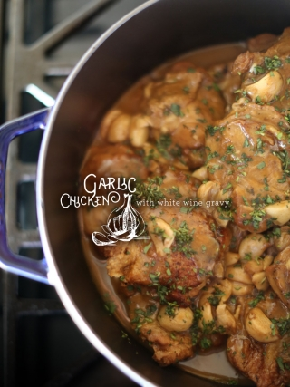 Garlic Chicken with White Wine Gravy