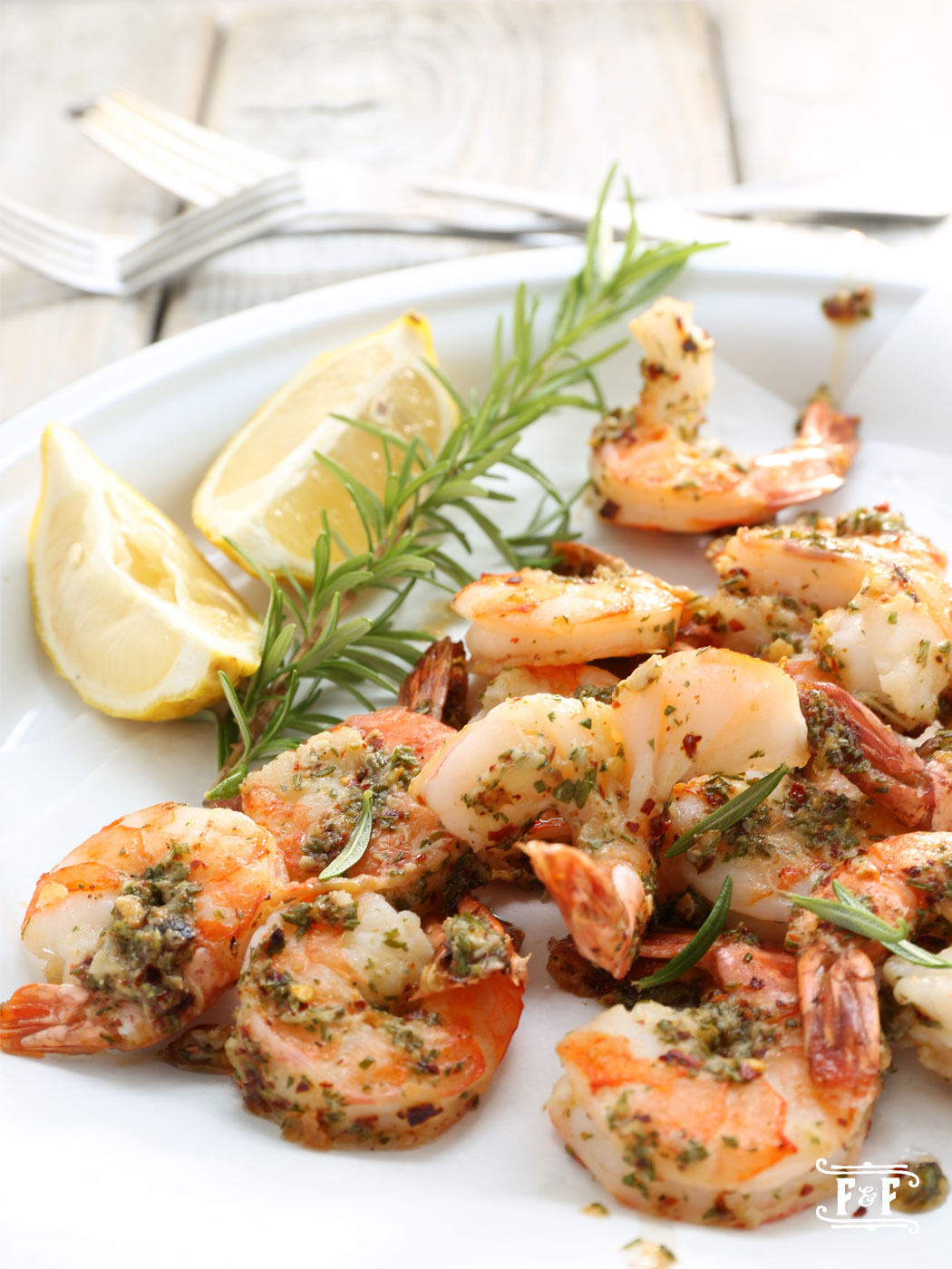 Garlic Rosemary Buttered Tiger Prawns