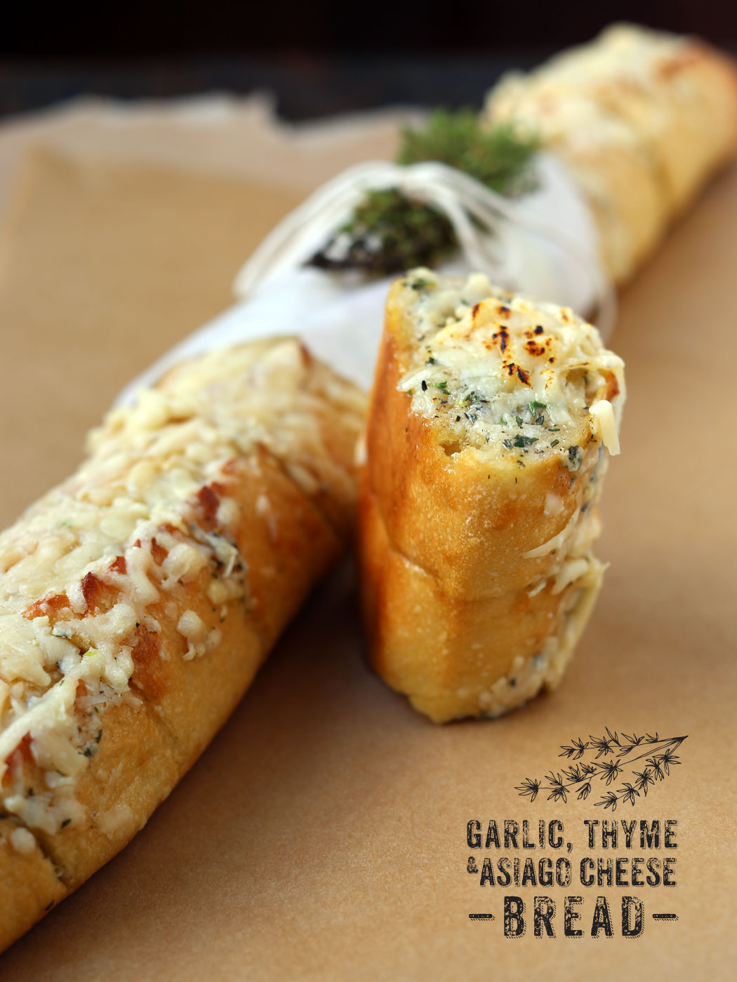 Garlic Thyme & Asiago Cheese Bread