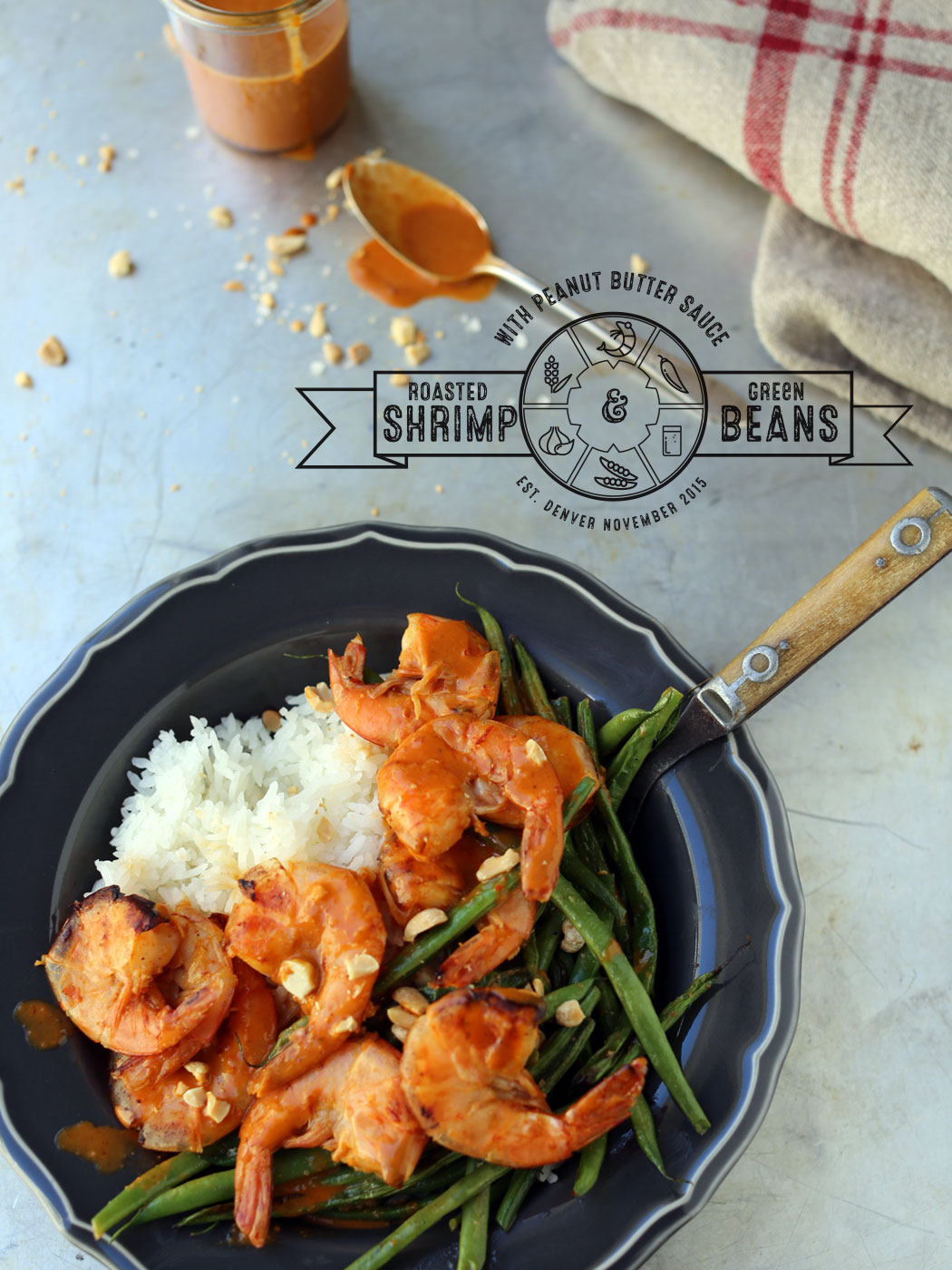 Roasted Shrimp and Green Beans with Peanut Butter Sauce