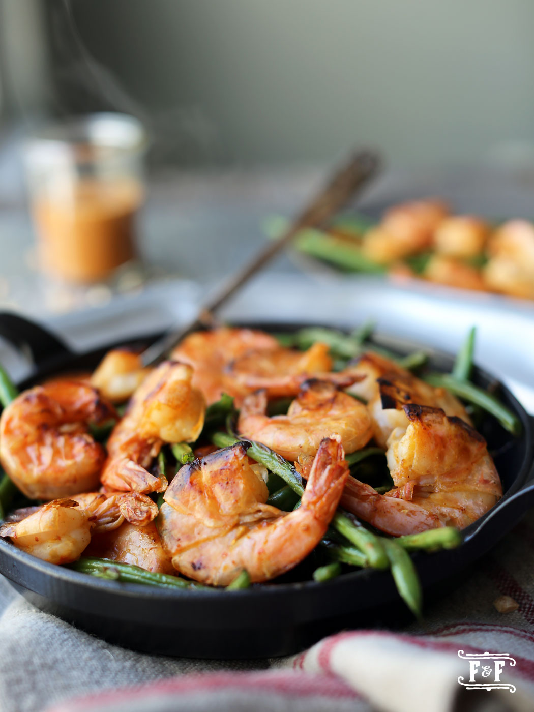 Roasted Shrimp & Green Beans With PB Sauce