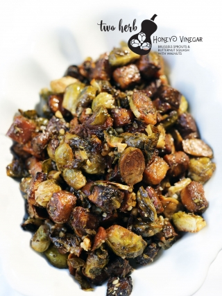 Two Herb Honey Vinegar Brussels Sprouts & Butternut Squash with Walnuts