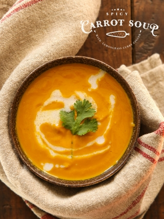 Spicy Carrot Soup with Lemongrass Curry Ginger