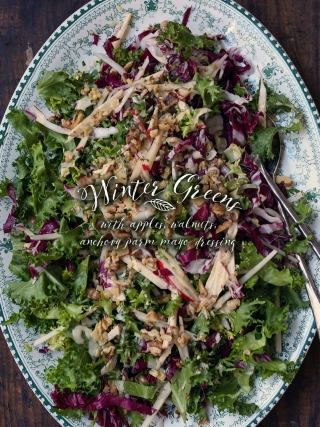 Winter Greens with Apple Walnut Anchovy Parm Mayo Dressing